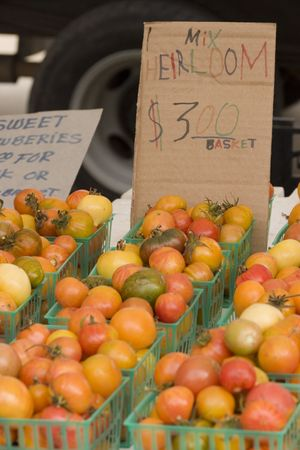 sunday market: pearl tomatoes for sale at the Sunday market Stock Photo