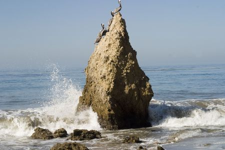 volcanic stones: rock formation at El Matabor beach in Malibu