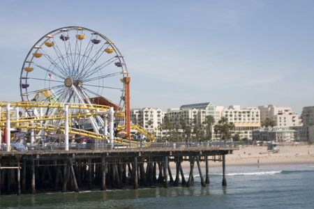 View of the famous Santa Monica Ferris Wheel from the boardwalk Stock Photo