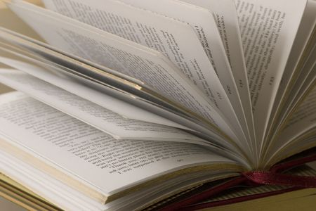 edges: open pages of a classic hardcover novel Stock Photo