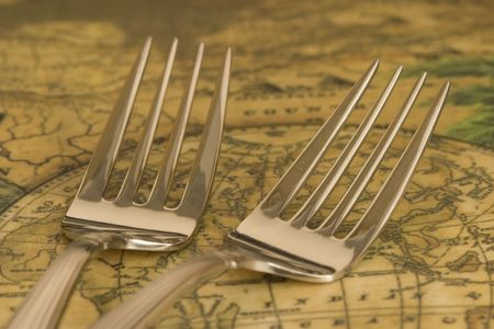 heirlooms: silverware on antique serving tray Stock Photo