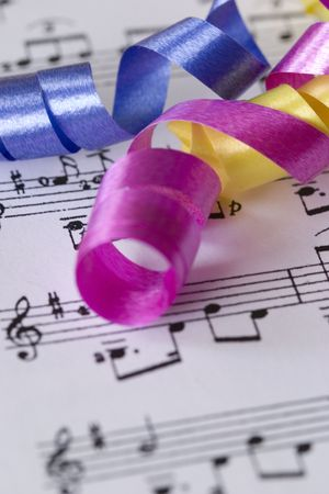 gift ribbons and music score