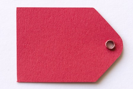 thanking: red gift tag Stock Photo