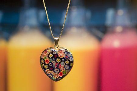 necklace at a village shop window