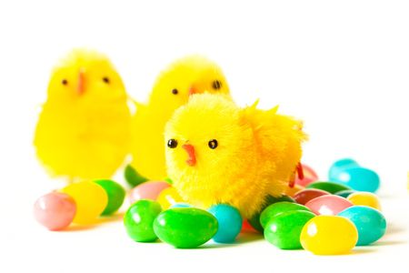 Three easter chics and jelly beans Stock fotó