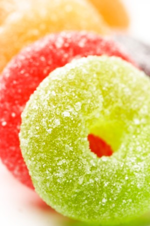 rainbow color sugar candies close up Stock Photo