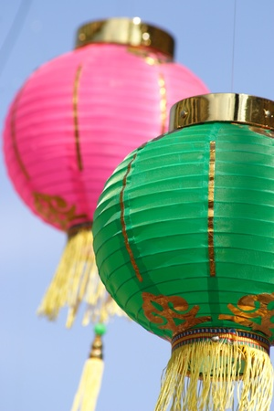 Two pretty Chinese paper lanterns  photo