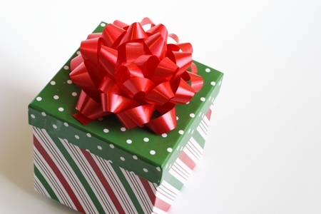 red Christmas bow and pretty box Stock Photo - 9750433