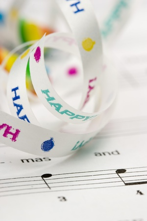 musical score: pretty holiday ribbons and musical score