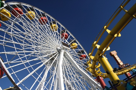 Santa Monica Pier Ferris wheel and train ride Stock Photo - 9891371