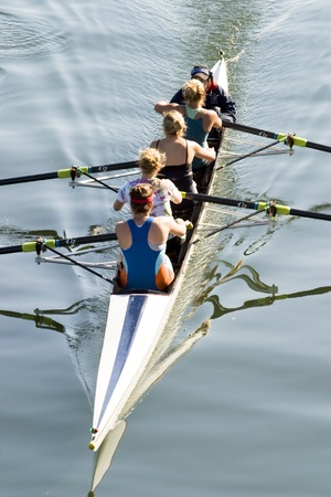 women varsity canoe team hard at work