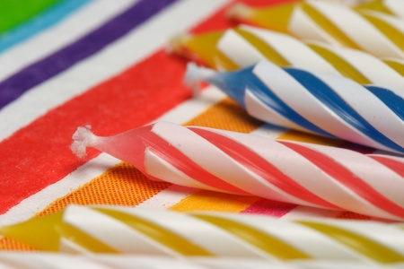 pretty birthday candle and party napkins Stock Photo - 10360814