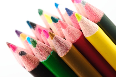 Assorted colored pencils for the school project photo