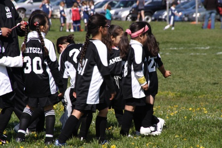 Young soccer league in practice