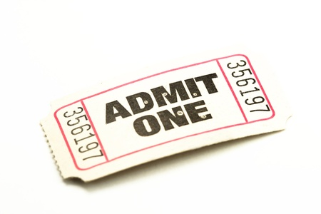 Admit One ticket isolated photo