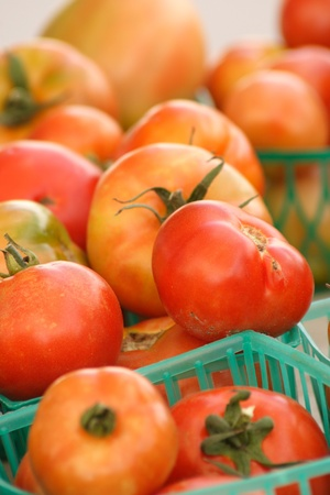 Fresh tomatoes at the outdoor market photo