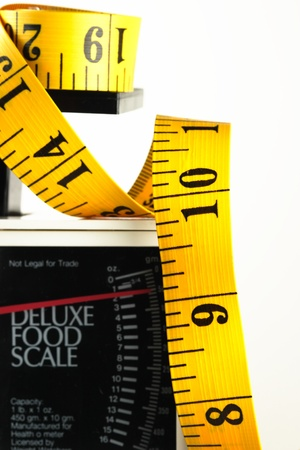 weight loss plan: Tape measure and kitchen food scale