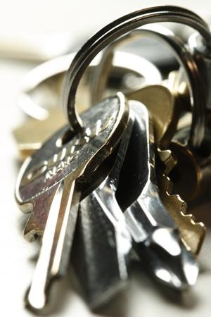 Bundle of keys on the table photo