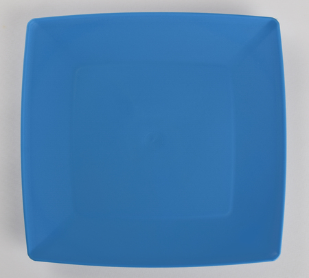 Blue plastic shallow dish food, top view Stock Photo