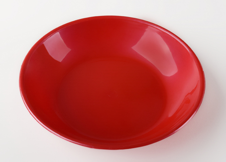 Red plastic shallow dish food