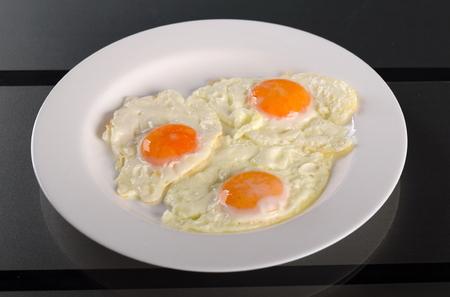 duck egg: Omelette of three eggs Stock Photo