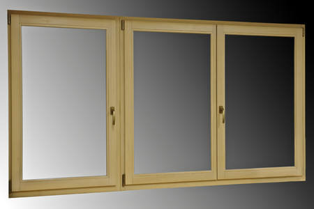 softwood: Wooden three-wing window system fabricated Stock Photo