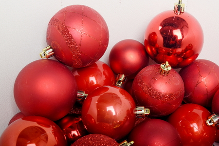 Balls on white background for the Xmas tree decoration