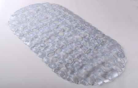Transparent rubber mat for bath with pattern as background. Transparent rubber mat with suction cups and holes anti slip for baby bath