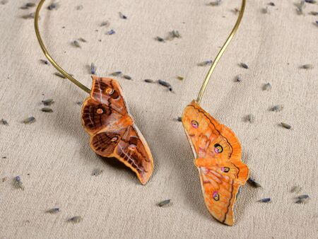 Handmade copper jewelry in the shape of butterfly from the genus Antheraea yamamai. Handmade jewelry