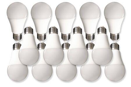 Many led bulb light and energy-saving lamp on table on white background. Energy saving concept Reklamní fotografie
