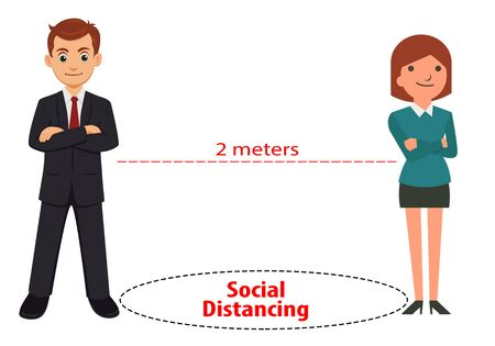 Social Distancing. Man and woman keeping distance 2 meters to protect from Coronavirus diseses (COVID-19). Idea for Coronavirus outbreak, prevention and awareness Stock fotó