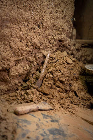 A few tools in a clay workshop