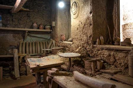 A few tools in a clay workshop. Craft workshop. Tools for clay and ceramics Stock fotó