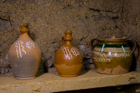 Clay pottery ceramic Products dry on shelf in workshop