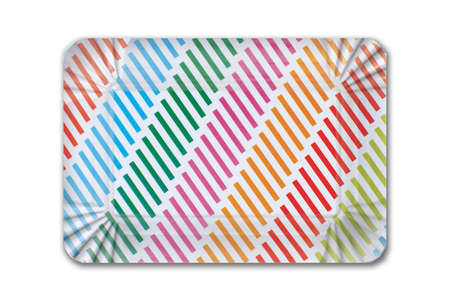 Multicolored striped cardboard plate for children's birthday on white background. Party dish made from cardboard in colorful concept