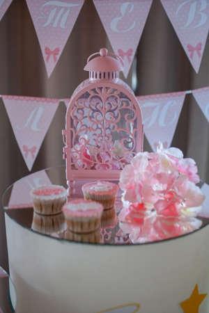 Decoration on newborn table. Birthday party in restaurant