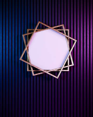 Gold frame with blank copy space on purple and blue neon background. Creative flat lay concept.