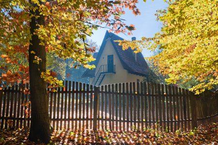 House in autumn forest