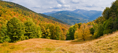 Sun-drenched valley and mountains covered with forests with autumn colors Stock Photo