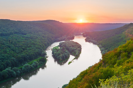 yin y yan: Beautiful sunset on the river. Top view on the islands of Yin-Yan on the Dniester River (Dnestr). National Nature Park Dniester Canyon, Seven Wonders of Ukraine.