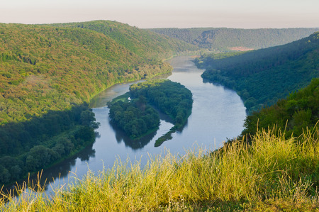 Top view on the beautiful islands of Yin-Yan on the Dniester River (Dnestr). National Nature Park Dniester Canyon, Seven Wonders of Ukraine