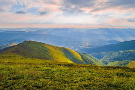 Dawn in the mountains. Summer mountain landscape. Carpathians, Ukraine, Europe Stock Photo