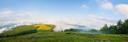 Panorama of the summer mountains with clouds of fog. Carpathians, Ukraine