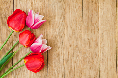 A beautiful bouquet of red tulips on a wooden background Stock Photo
