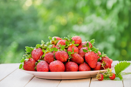 Fresh strawberries in a plate on the garden table Stock Photo