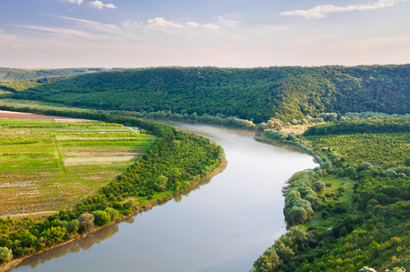 Top view on the beautiful bend of the river. Dniester Canyon, Ukraine, Europe