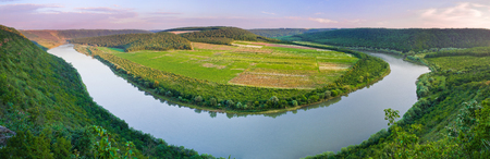 Beautiful panorama of the Dniester river canyon. Ukraine, Europe. Stock Photo