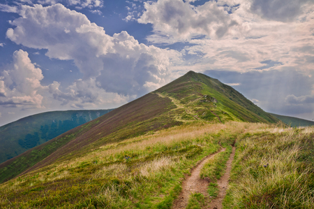 Summer mountain landscape with a path to the mountain and sky with clouds. Carpathians, Ukraine Stock Photo