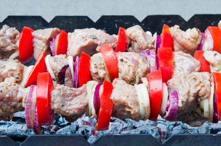 Fresh meat with vegetables is baked on the grill