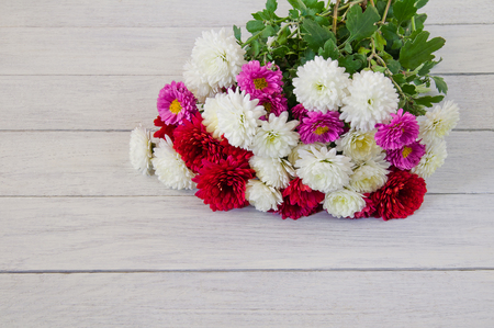 Bouquet of colored chrysanthemums on a white wooden background
